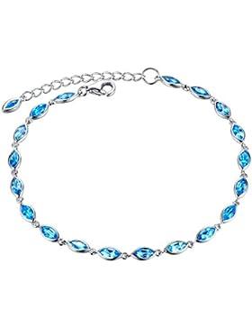 Aoiy Damen-Armband, Sterling Silber, klein 3.41 Karat Natürlicher Marquise-Form Schweizer Blau Topas, für Mädchen...
