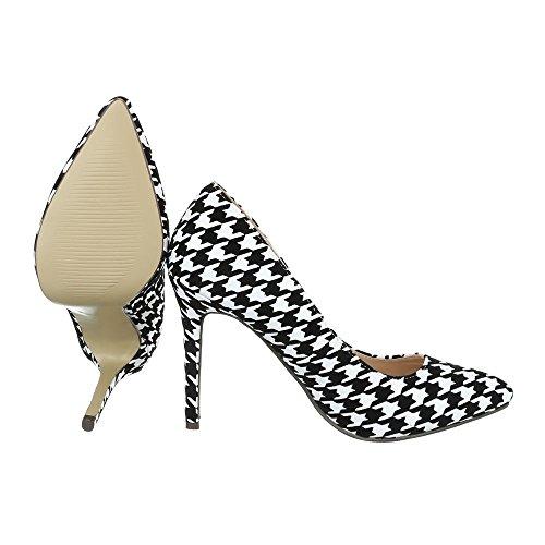 Ital-Design , chaussures compensées femme noir/blanc