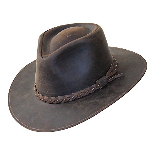B&S Premium Leder Fedora - Hut mit breiter Krempe - Hochqualitatives Leder - Wasserabweisend - 56cm dunkelbraun -