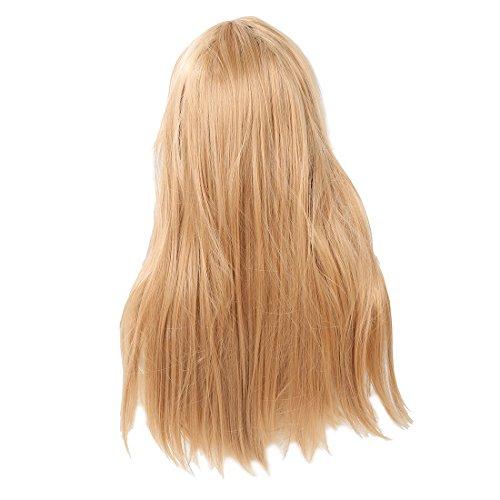 SODIAL(R) Femme Longue Frise Deguisement Perruques Droit Cosplay Costume Dames Perruque Partie - Blonde