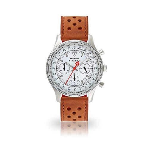 DETOMASO Firenze Herren-Armbanduhr Chronograph Analog Quarz silbernes Edelstahlgehäuse weißes Zifferblatt (Leder - Braun (Racing Style))