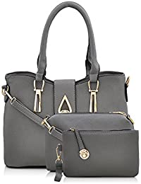 Mark & Keith Women's Handbag With Sling Bag & Pouch (Grey,Mbg 0419 Gy)