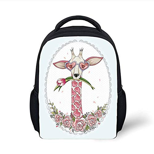 Kids School Backpack Valentine,Cute Hipster Giraffe with Tulip and Heart Shaped Glasses Vintage Frame,Baby Blue Light Pink Plain Bookbag Travel Daypack