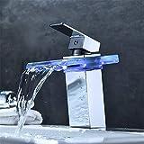 WSJIABIN LED Badarmatur - Waschtischarmatur Wasserhahn Küche 360° schwenkbarer Küchenarmatur Hoher Auslauf Spültischarmatur Hochdruck Armaturen Wasserfall Einhebelmischer Led