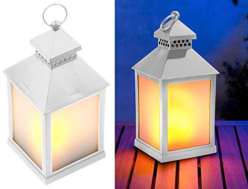 Lunartec LED-Laterne Deko: LED-Laterne mit realistischem Flammenspiel und Timer, weiß (LED-Effekt-Lampen)