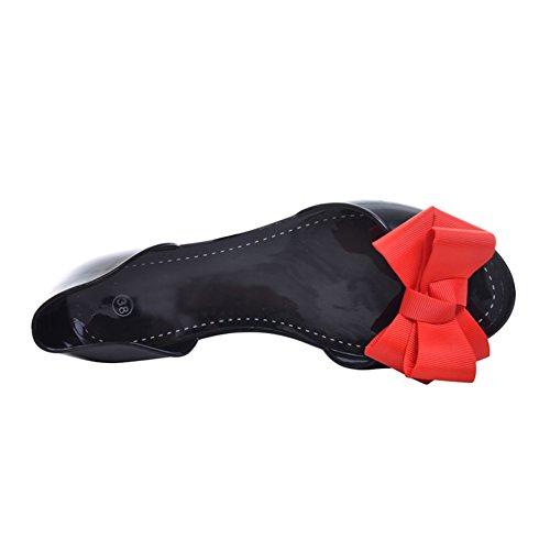 Minetom Damen Mädchen Sommer Strand Ebeneschuhe Schuhe Süßen Stil Spitz Zehe Schuhe Mit Bowknot Offener Zeh Geleeschuhe Rot