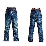 ZYSMC Damenpistenshose, Outdoor-Ski-Jeans, Winddichte, Wasserdichte warme Einzelboard-Doppel-Skihose,Blue,M