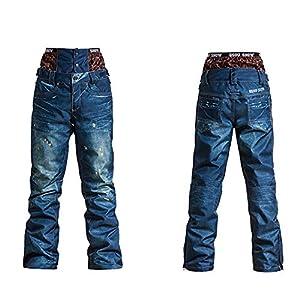 ZYSMC Damenpistenshose, Outdoor-Ski-Jeans, Winddichte, Wasserdichte warme Einzelboard-Doppel-Skihose