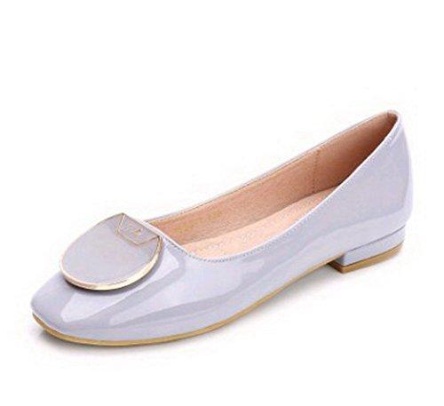 AalarDom Femme Couleur Unie Cuir de Mouton Carré Chaussures à Plat Violet Clair