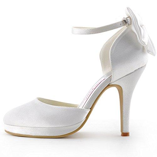 95095c74903e1c ... Runde Weiß Damen Brautschuhe PF Hochzeit Plateau Elegantpark  Geschlossene Zehen Stiletto Satin AJ091 Pumps wffI7qB ...