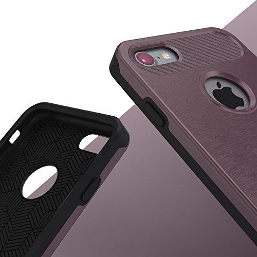 iPhone 7 Coque, Urcover Cross Case Dual Layer [Look Carbone] Housse Étui Téléphone Smartphone Champagne Or pour Apple iPhone 7 Cover Rose Dorée