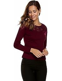 Zeagoo Damen Elegant Langarmshirt Bluse aus geblümte Spitzenshirt OL  Business Party Top Bluse… e1ea3b12d5