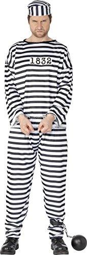 Smiffys, Herren Sträfling Kostüm, Hemd, Hose und Mütze, Größe: XL, (Auf Der Kostüm Flucht Halloween)