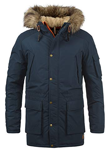 JACK & JONES Originals Jaakov Herren Winter Jacke Parka Mantel Lange Winterjacke gefüttert mit Teddy-Futter und Kunst-Fellkapuze, Größe:XL, Farbe:Total Eclipse