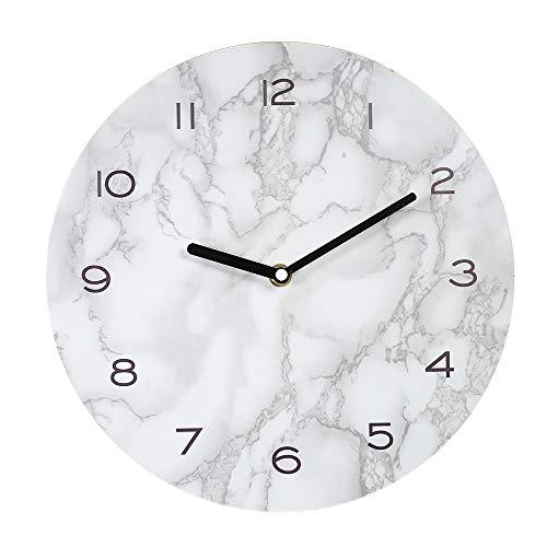 Decdeal Wanduhr Marmor Aufkleber Stummschalten Präzision Kiefer Dichte Bord mit Haken Einfach Moderne Wanduhren (29 cm Ø)