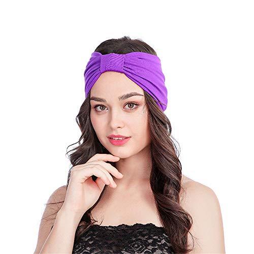 Damen Haar Band Stretch Vier Jahreszeiten Breit Seite Stirnband Jahrgang Kopftuch Kugel Elastisch Handgefertigt Krawatte Design Haarband GreatestPAK,Lila -
