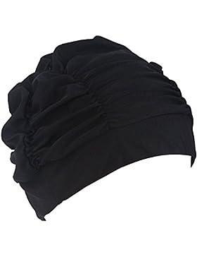 TININNA donne pieghe del panno del tessuto protezione Capelli protezioni Nuotata balneazione Cappello Nero