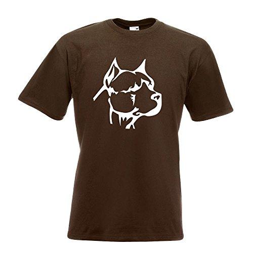KIWISTAR - Pitbull Kopf T-Shirt in 15 verschiedenen Farben - Herren Funshirt bedruckt Design Sprüche Spruch Motive Oberteil Baumwolle Print Größe S M L XL XXL Chocolate