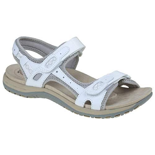 earth spirit frisco ladies suede touch fasten sandals white