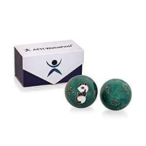 Meditation Qi-Gong-Kugel Paar mit Klangwerk | Klangkugeln | Yin Yan | Design PANDA GRÜN | mit hochwertiger und wiederverschließbaren Aufbewahrung Magnetbox
