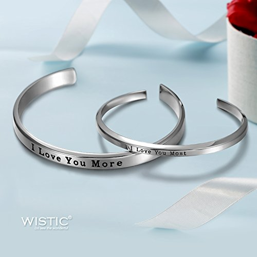 "Parr Partner Armbänder aus Edelstahl mit Gravur ""His Only & Her One"" (""I Love You Most & I Love You More"")"