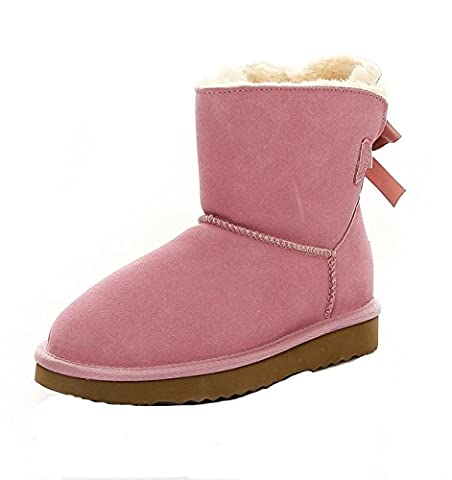 SKUTARI - Damen Playful Single Bow Boots - Wildleder, Rosa, Gefüttert, Farbton:Pink;Groesse:37