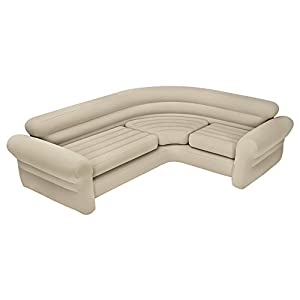 Intex - Sofá rinconera hinchable, 257 x 203 x 76 cm, color crema  (68575NP)