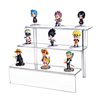 """Richboom 3 Step Acrylic Riser Display Stand Shelf for Amiibo Funko POP Figures, Cosmetic Stand Cupcakes Stand Figure Display Stand, 12""""x8.5"""""""