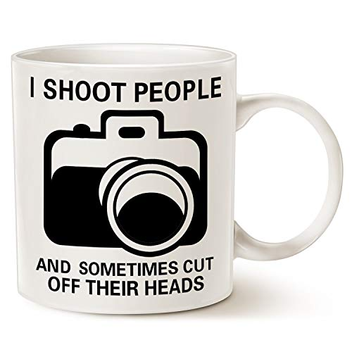 Funny Photographer Coffee Mug Christmas Gifts, I Shoot People and Sometimes Cut Off Their Heads Unique Gag Gifts for Photography Lover Cup White, 11 Oz