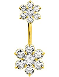 Gold Plated belly bars by BodyTrend - double charm - we use the best quality Laser cut CZ crystals - Surgical Steel 316L bar 10MM