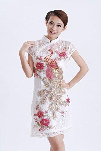 Smile YKK Femme Robe Chinois Cheongsam Qipao Paon Dentelle Fasion Blanc