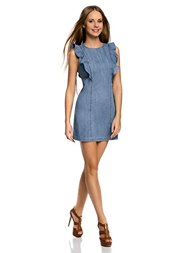 oodji Ultra Donna Abito in Jeans con Volant e Cerniera Blu (7500W)