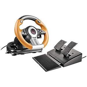 Speedlink DRIFT O.Z. Racing Wheel, USB Gaming Lenkrad für PC / Computer mit Pedalen für Gas und Bremse, schwarz-orange
