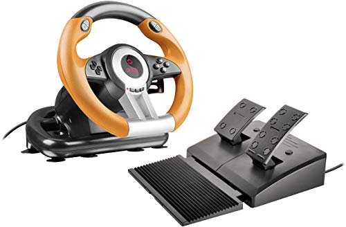 Speedlink DRIFT O.Z. Racing Wheel - USB Gaming Lenkrad für den PC (Kompatibel mit Windows-Betriebssystemen ab XP - Pedale für Gas und Bremse) für Gaming/Computer/Notebook/Laptop, schwarz-orange Windows Xp Notebook-pcs