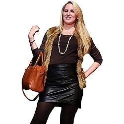 """Cuero genuino Napa mini falda de piel colour negro """""""" (FD-1035)"""" aparte de haber más abajo la tabla de tallas negro 54"""