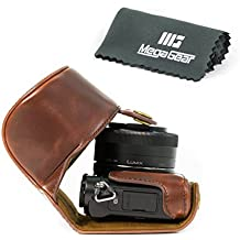 "MegaGear ""Ever Ready"" funda protectora de cuero de la cámara, bolsa para Panasonic Lumix DMC-GM5 con lente de 12-32mm (Marron Oscuro)"