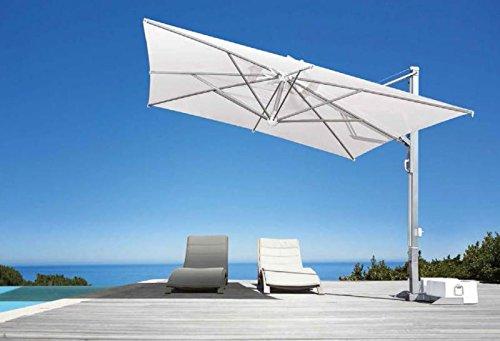 Parasol déporté - Galileo White ou Inox Carré 4x4m Acrylique Dralon 350g/m2 Blanc A7 Mât Blanc Sans volants