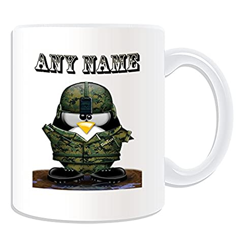 Personalised Gift - Soldier with Helmet Mug (Penguin in Costume Design Theme, White) - Any Name / Message on Your Unique - Army Military Forces Uniform Salute Armed by