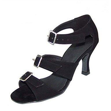 Scarpe da ballo-Personalizzabile-Da donna-Balli latino-americani Jazz Salsa Scarpe da swing-Tacco su misura-Vellutato Brillantini-Nero Black
