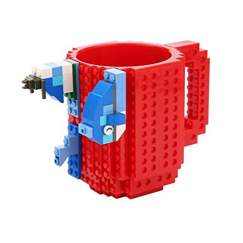 VANUODA Build-on Brick Mug, Tazas Desayuno, Regalo Originales de Navidad Ideal para Hombre - Chico - Chicas (Rojo)