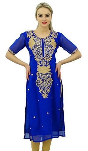 Bimba Damen Designer bestickt Kurta Kurti indischen lange Tunika Bluse Königsblau