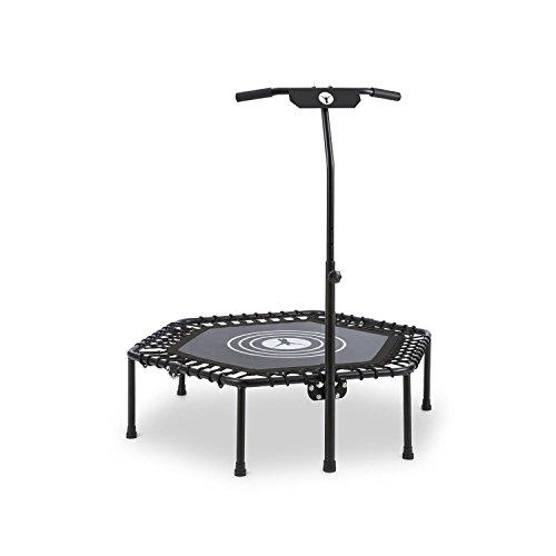 Klarfit Jumpanatic Fitness-Trampolin Indoor-Trampolin Garten-Trampolin (extra große 84 cm Sprungfläche, 109-134 cm einstellbare Griffhöhe 6-stufig, 120 kg max. Nutzergewicht) schwarz