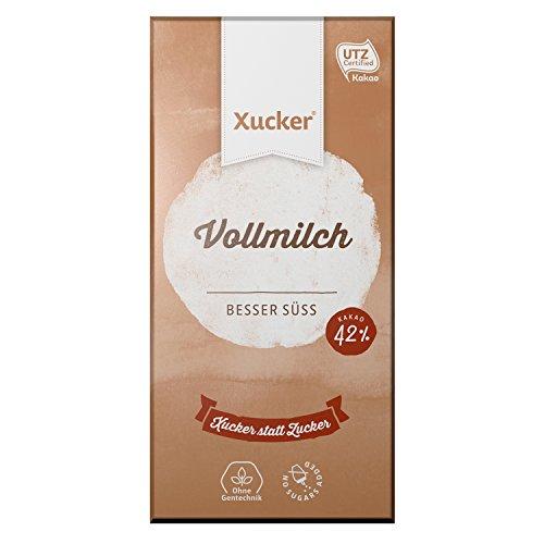 Xucker Vollmilchschokolade, UTZ-zertifiziert, 5er Pack Schokolade ohne Zuckerzusatz mit Xylit, Vollmilch, 5 x 100g Tafel, 42% Kakaogehalt, Xukkolade