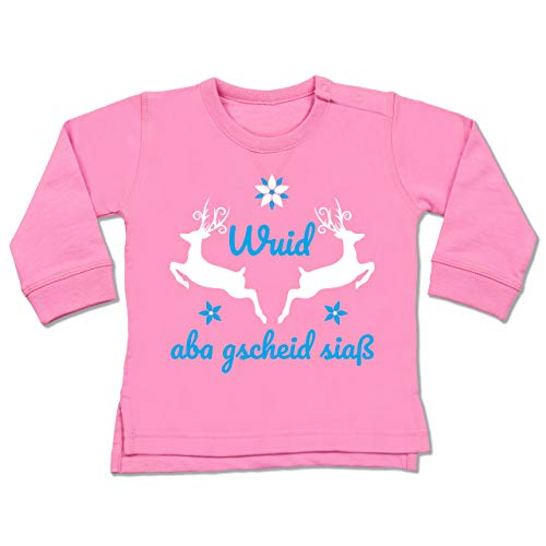 Shirtracer Oktoberfest Baby - Wuid ABA gscheid siaß - 6-12 Monate - Pink - BZ31 - Baby Pullover