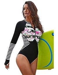 123c664f4 FlYHIGH Traje de baño Mujer Talla Grande Una Pieza Manga Larga Rash Guard  Protección UV Rayas