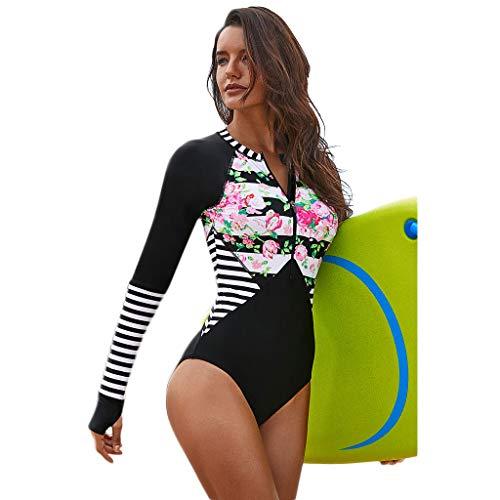 FlYHIGH Traje de baño Mujer Talla Grande Una Pieza Manga Larga Rash Guard Protección UV Rayas Florales...