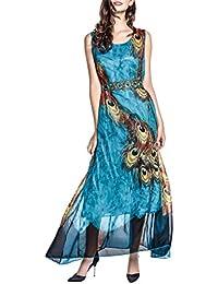 Wantdo Vestido Gasa Maxi Largo Verano para Mujer de Estilo Bohemio Estampado Talla Extra