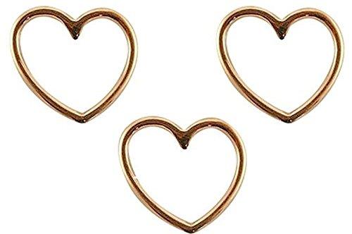er Herz Rosegold (3 Stück) Armband Anhänger 15 x 16mm, DQ Metall Charm, Schmuckverbinder in Verschiedenen Farben wählbar ()