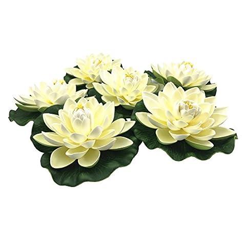 Navadeal Lot de 6grandes fleurs Lotus flottant artificiel Blanc, Home Garden étang Aquarium Décoration de mariage