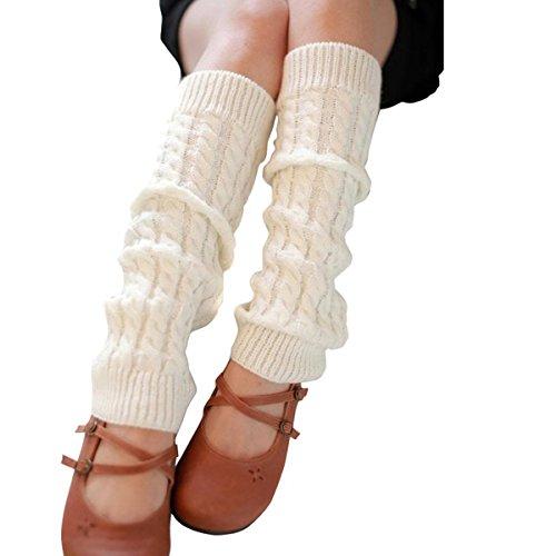 Butterme Moda Donna autunno inverno caldo Crochet intrecciato maglia Scaldamuscoli (bianca)